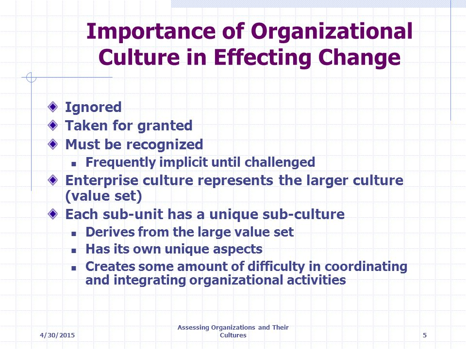 4/30/2015 Assessing Organizations and Their Cultures5 Importance of Organizational Culture in Effecting Change Ignored Taken for granted Must be recog