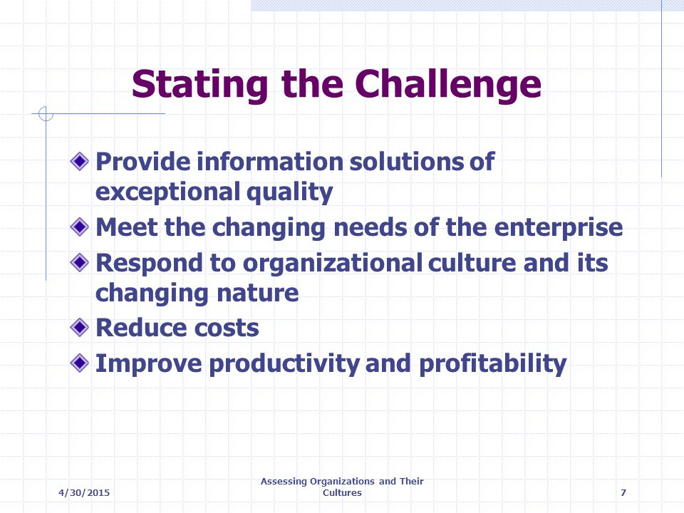 4/30/2015 Assessing Organizations and Their Cultures18 Values of Cultures CULTURE CRITERIA CLANADHOCRACYHIERARCHYMARKET LEADERSHIP EFFECTIVENESS MANAGEMENT CHARACTERISTICS EXAMPLE JUSTIFICATION