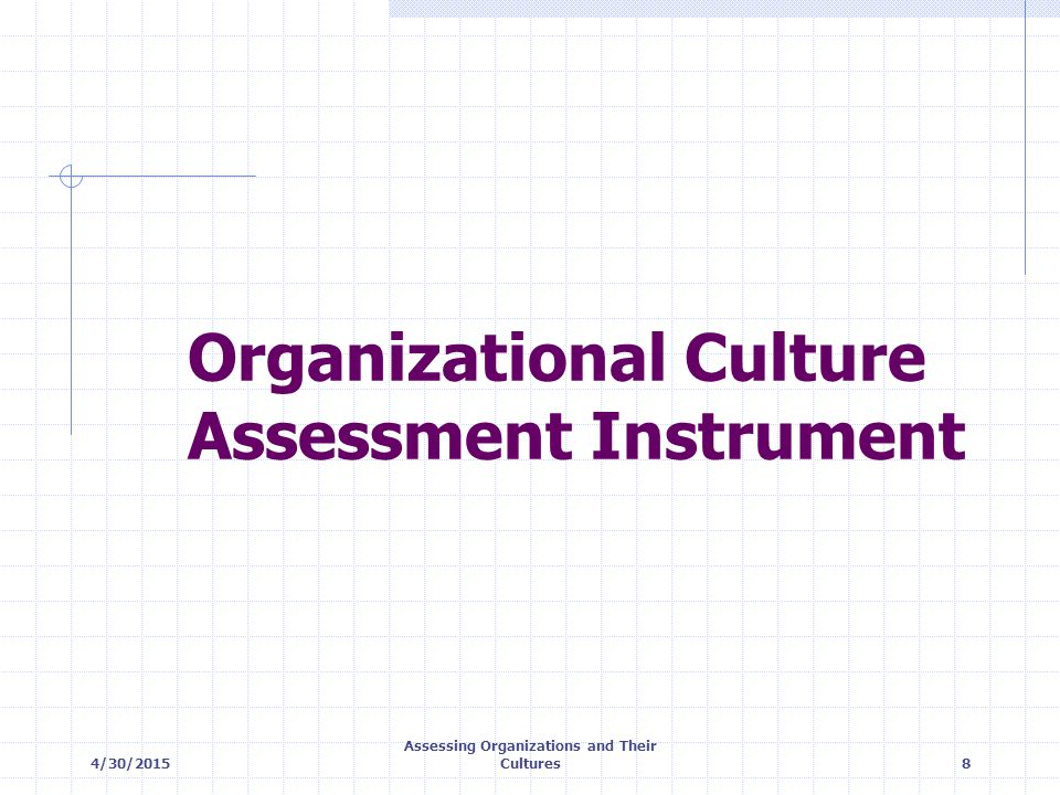 4/30/2015 Assessing Organizations and Their Cultures19 Plotting the Organizational Culture Profile CLANADHOCRACY HIERARCHYMARKET Flexibility and Discretion External Focus & Differentiation Internal Focus & Integration Stability and Control 10 20 30 40 50 40 50 30 20 Internal maintenance; concern for people; sensitivity to customers External positioning; high degree of flexibility & individuality Internal maintenance; need for stability & control External positioning; need for stability & control