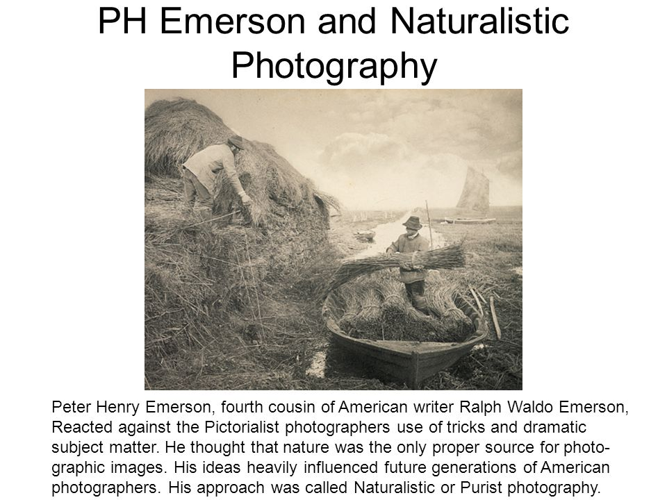PH Emerson and Naturalistic Photography Peter Henry Emerson, fourth cousin of American writer Ralph Waldo Emerson, Reacted against the Pictorialist ph