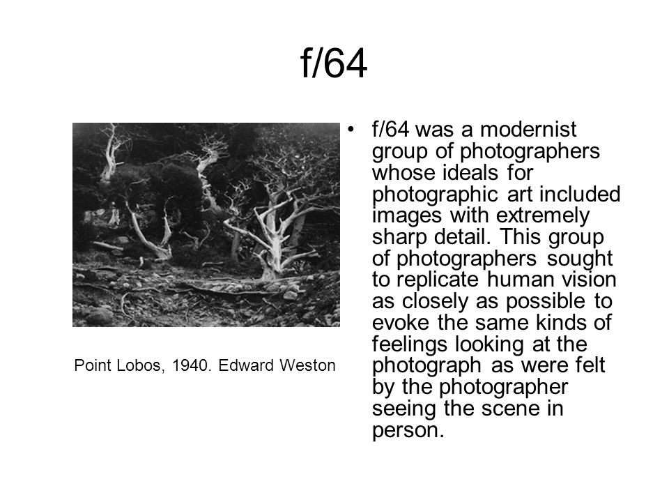 f/64 f/64 was a modernist group of photographers whose ideals for photographic art included images with extremely sharp detail. This group of photogra