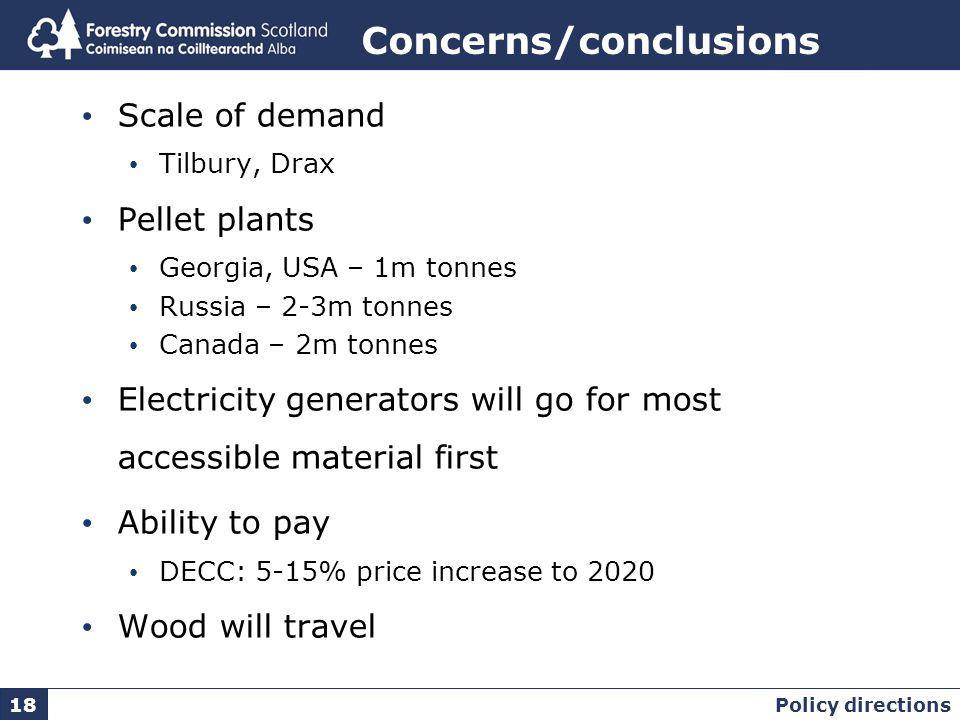 Concerns/conclusions Scale of demand Tilbury, Drax Pellet plants Georgia, USA – 1m tonnes Russia – 2-3m tonnes Canada – 2m tonnes Electricity generators will go for most accessible material first Ability to pay DECC: 5-15% price increase to 2020 Wood will travel Policy directions 18