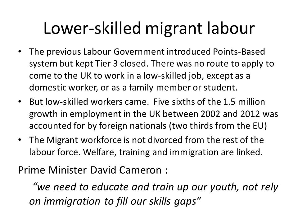 Lower-skilled migrant labour The previous Labour Government introduced Points-Based system but kept Tier 3 closed. There was no route to apply to come