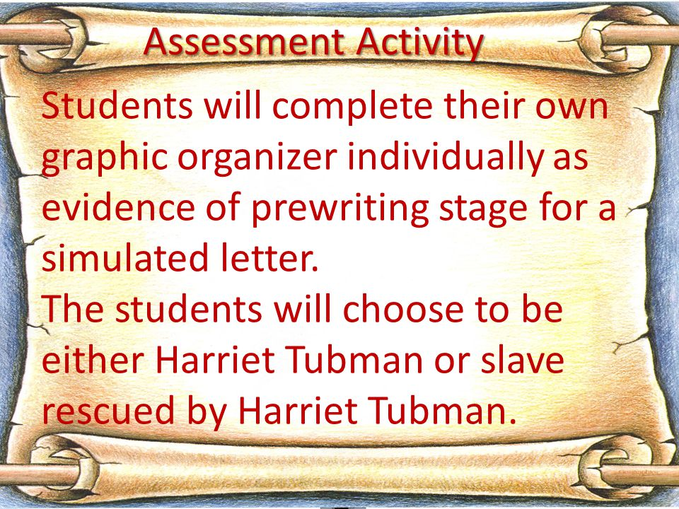 Students will complete their own graphic organizer individually as evidence of prewriting stage for a simulated letter.