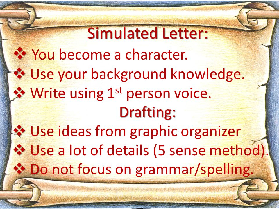 Simulated Letter:   You become a character.   Use your background knowledge.   Write using 1 st person voice.Drafting:   Use ideas from graphi