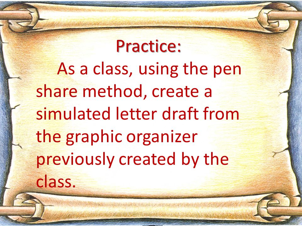 Practice: As a class, using the pen share method, create a simulated letter draft from the graphic organizer previously created by the class.