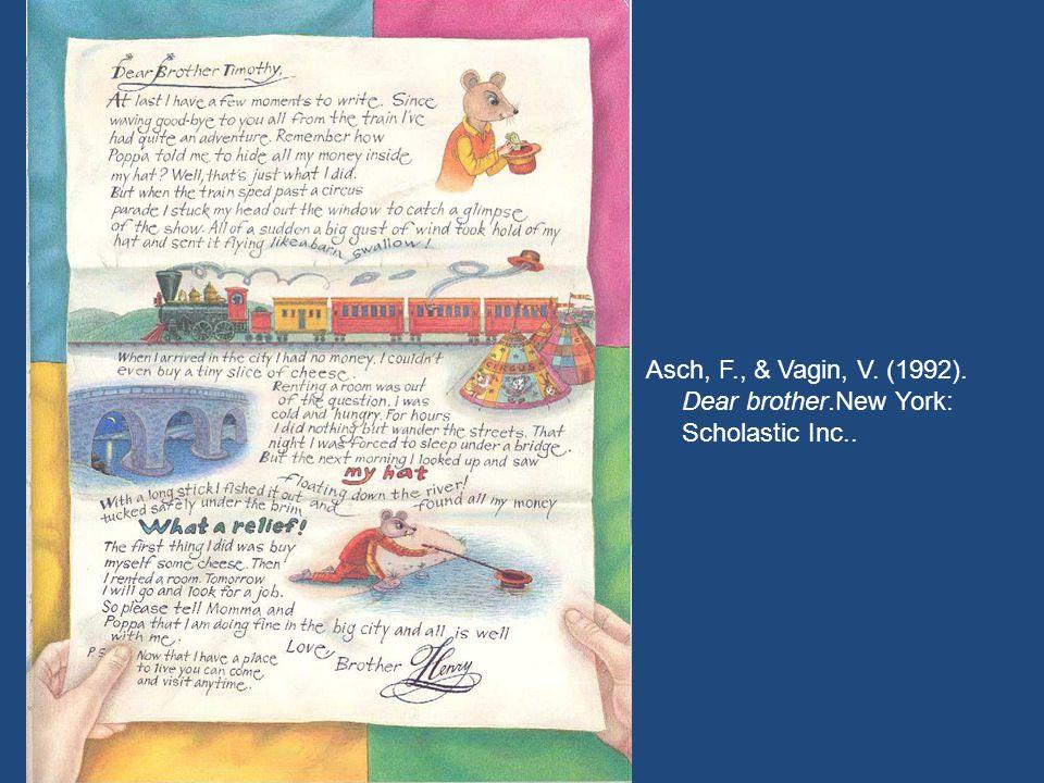 Asch, F., & Vagin, V. (1992). Dear brother.New York: Scholastic Inc..