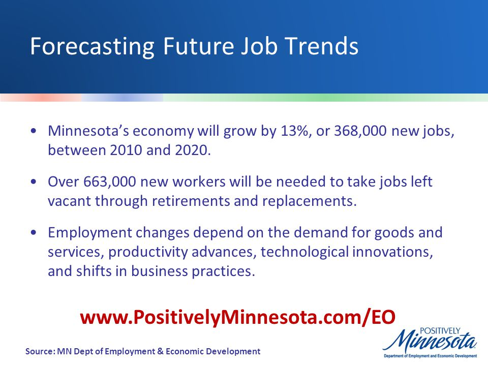 Forecasting Future Job Trends Minnesota's economy will grow by 13%, or 368,000 new jobs, between 2010 and 2020.