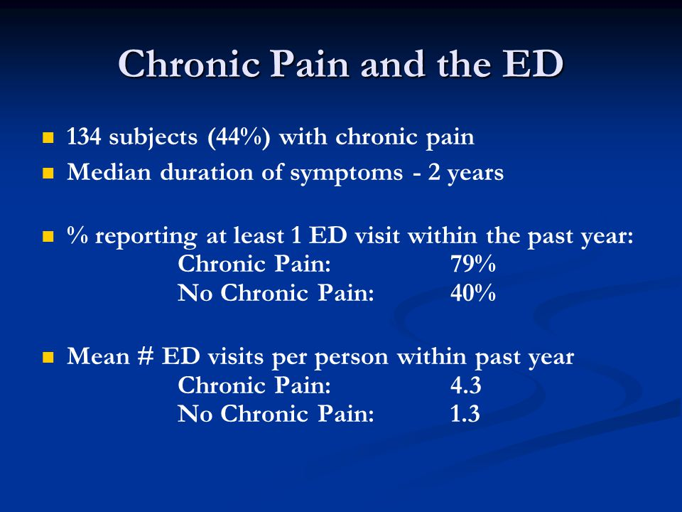 Chronic Pain and the ED 134 subjects (44%) with chronic pain Median duration of symptoms - 2 years % reporting at least 1 ED visit within the past year: Chronic Pain: 79% No Chronic Pain: 40% Mean # ED visits per person within past year Chronic Pain: 4.3 No Chronic Pain: 1.3