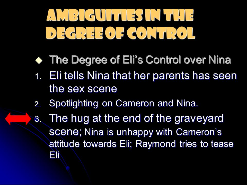 Ambiguities in the Degree of Control  The Degree of Eli's Control over Nina 1.