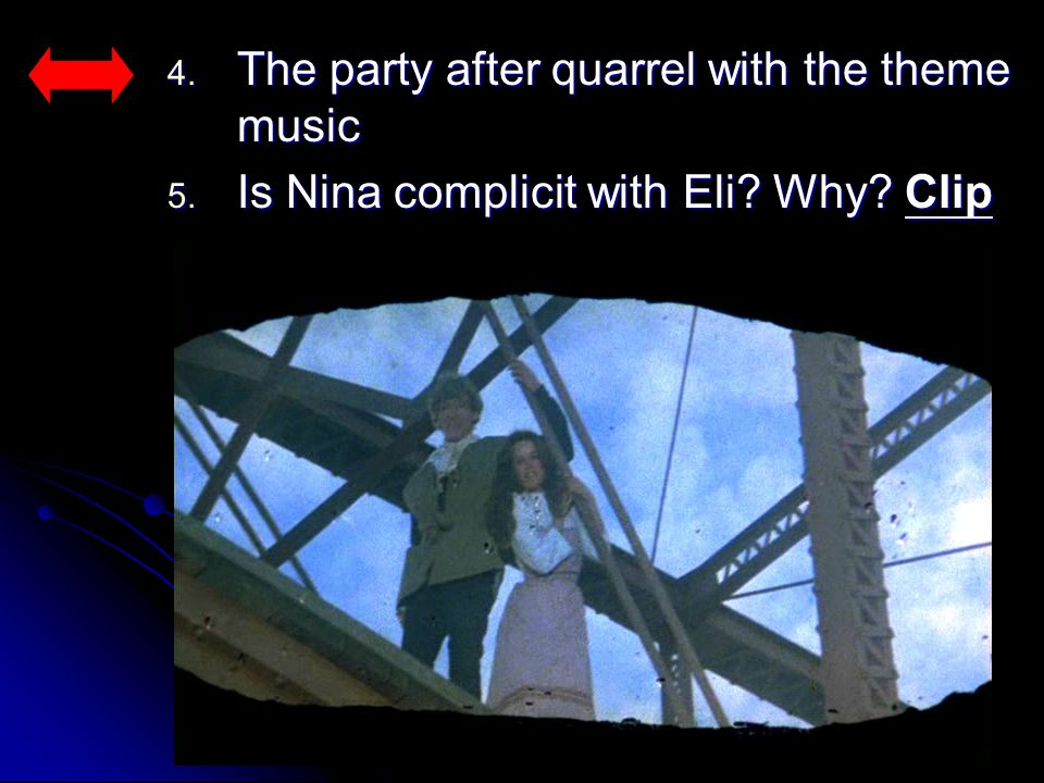 4. The party after quarrel with the theme music 5. Is Nina complicit with Eli? Why? Clip