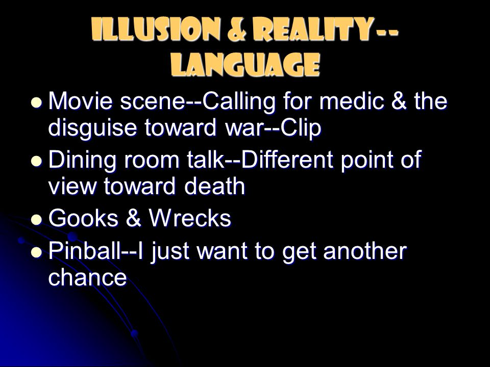 Illusion & Reality-- Language Movie scene--Calling for medic & the disguise toward war--Clip Movie scene--Calling for medic & the disguise toward war--Clip Dining room talk--Different point of view toward death Dining room talk--Different point of view toward death Gooks & Wrecks Gooks & Wrecks Pinball--I just want to get another chance Pinball--I just want to get another chance