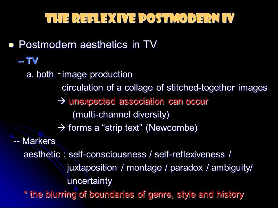 The Reflexive Postmodern IV Postmodern aesthetics in TV Postmodern aesthetics in TV -- TV -- TV a. both image production a. both image production circ