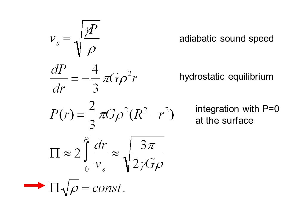 adiabatic sound speed hydrostatic equilibrium integration with P=0 at the surface