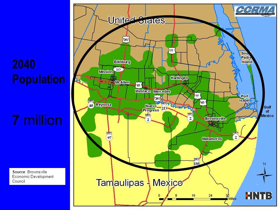 2040 Population 7 million Source: Brownsville Economic Development Council