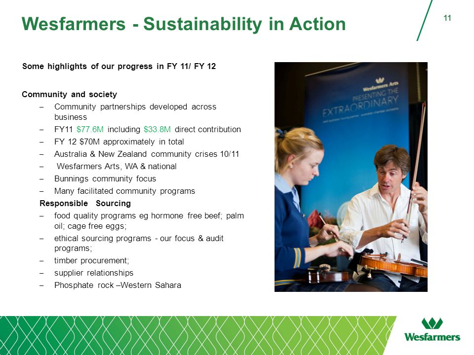 Wesfarmers - Sustainability in Action Some highlights of our progress in FY 11/ FY 12 Community and society – Community partnerships developed across