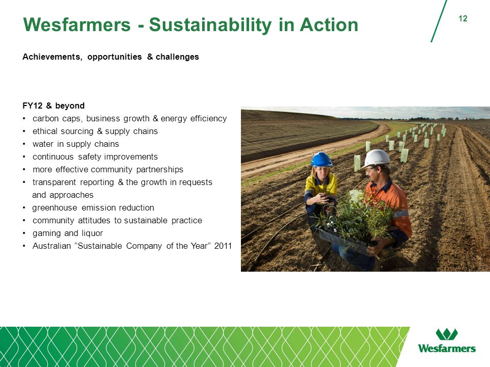 Wesfarmers - Sustainability in Action Achievements, opportunities & challenges FY12 & beyond carbon caps, business growth & energy efficiency ethical