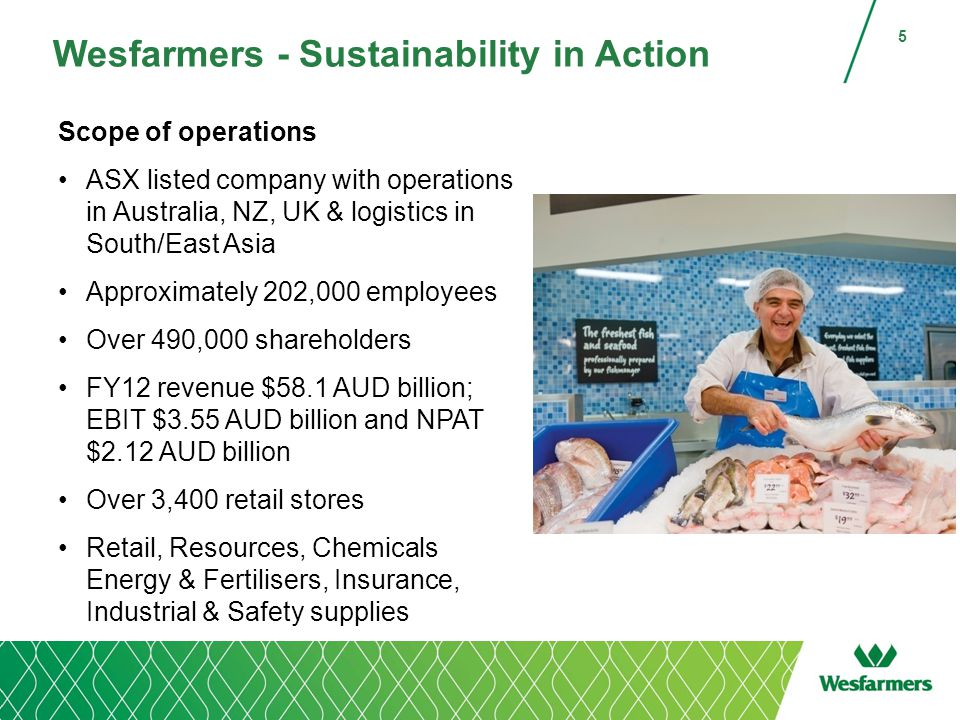 Wesfarmers - Sustainability in Action Scope of operations ASX listed company with operations in Australia, NZ, UK & logistics in South/East Asia Approximately 202,000 employees Over 490,000 shareholders FY12 revenue $58.1 AUD billion; EBIT $3.55 AUD billion and NPAT $2.12 AUD billion Over 3,400 retail stores Retail, Resources, Chemicals Energy & Fertilisers, Insurance, Industrial & Safety supplies 5