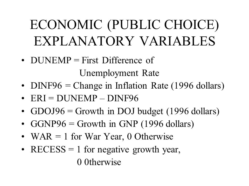 ECONOMIC (PUBLIC CHOICE) EXPLANATORY VARIABLES DUNEMP = First Difference of Unemployment Rate DINF96 = Change in Inflation Rate (1996 dollars) ERI = DUNEMP – DINF96 GDOJ96 = Growth in DOJ budget (1996 dollars) GGNP96 = Growth in GNP (1996 dollars) WAR = 1 for War Year, 0 Otherwise RECESS = 1 for negative growth year, 0 0therwise