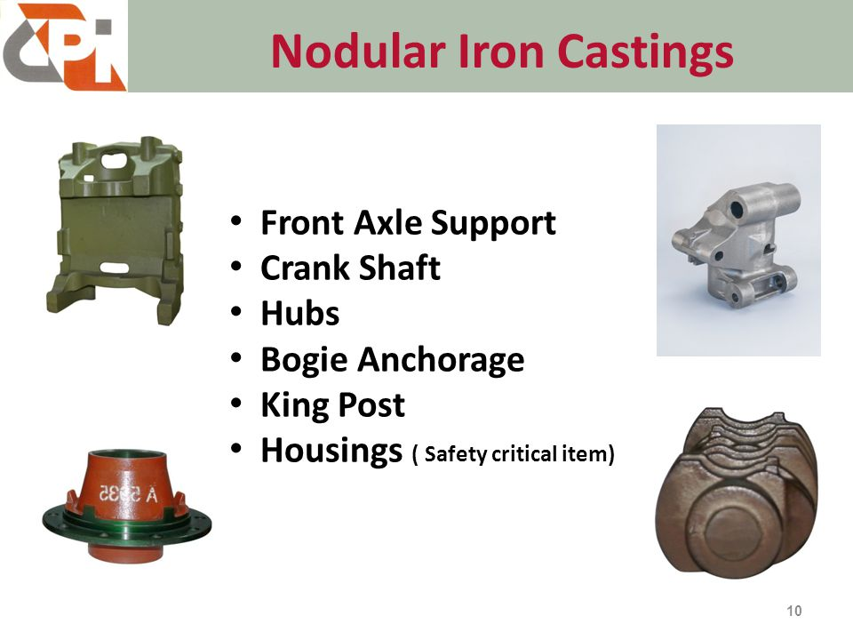 Nodular Iron Castings 10 Front Axle Support Crank Shaft Hubs Bogie Anchorage King Post Housings ( Safety critical item)