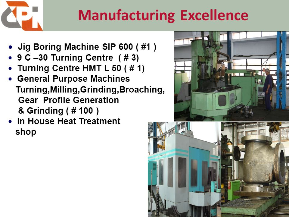 Manufacturing Excellence 22  Jig Boring Machine SIP 600 ( #1 )  9 C –30 Turning Centre ( # 3)  Turning Centre HMT L 50 ( # 1)  General Purpose Machines Turning,Milling,Grinding,Broaching, Gear Profile Generation & Grinding( # 100 )  In House Heat Treatment shop