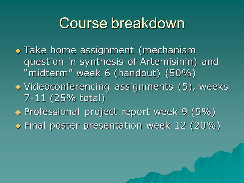 Course breakdown  Take home assignment (mechanism question in synthesis of Artemisinin) and midterm week 6 (handout) (50%)  Videoconferencing assignments (5), weeks 7-11 (25% total)  Professional project report week 9 (5%)  Final poster presentation week 12 (20%)