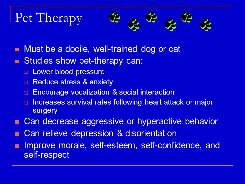 Pet Therapy Must be a docile, well-trained dog or cat Studies show pet-therapy can:  Lower blood pressure  Reduce stress & anxiety  Encourage vocalization & social interaction  Increases survival rates following heart attack or major surgery Can decrease aggressive or hyperactive behavior Can relieve depression & disorientation Improve morale, self-esteem, self-confidence, and self-respect