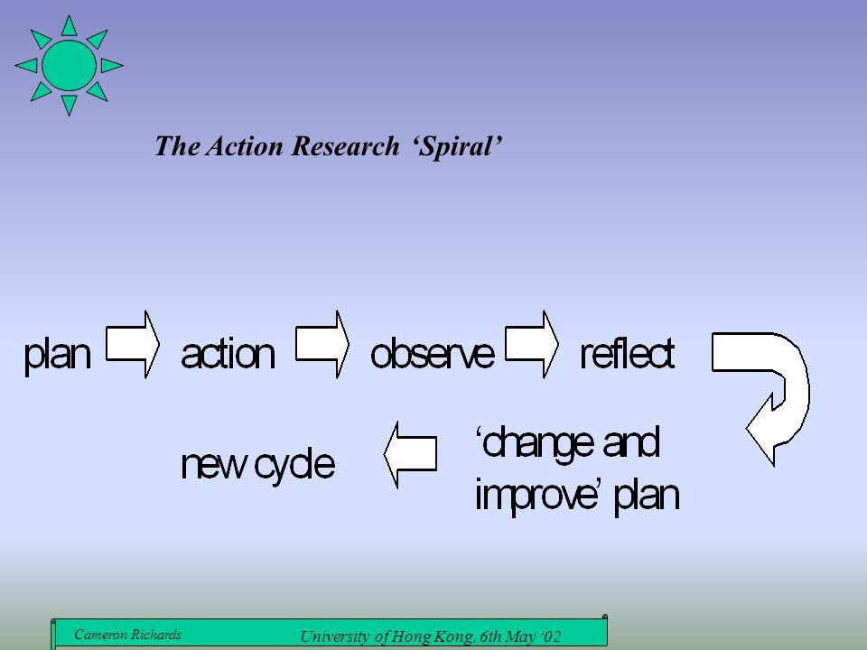 Cameron Richards University of Hong Kong, 6th May '02 The Action Research 'Spiral'