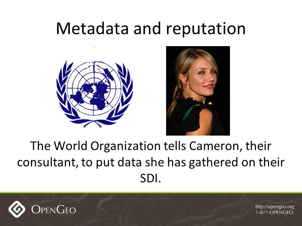 Metadata and reputation The World Organization tells Cameron, their consultant, to put data she has gathered on their SDI.