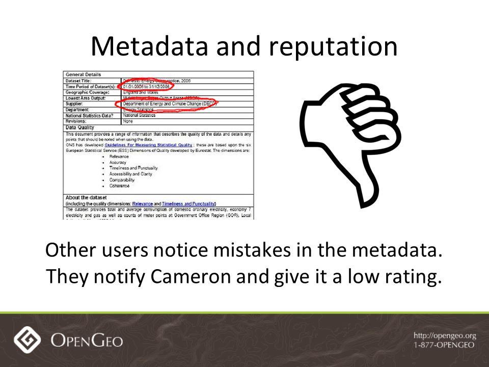 Metadata and reputation Other users notice mistakes in the metadata.