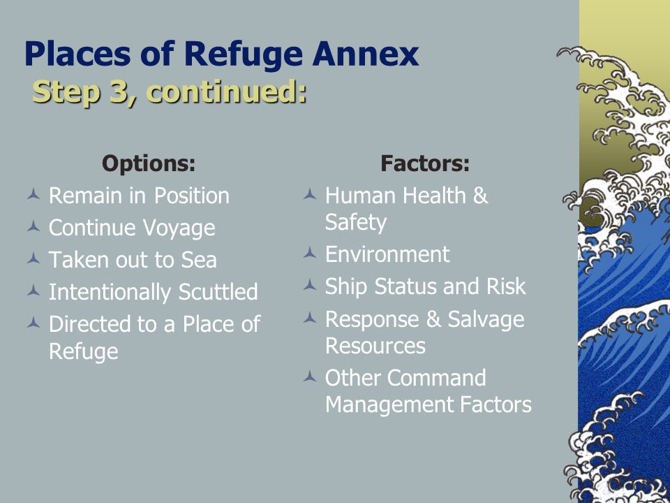 Step 3, continued: Places of Refuge Annex Step 3, continued: Options: Remain in Position Continue Voyage Taken out to Sea Intentionally Scuttled Directed to a Place of Refuge Factors: Human Health & Safety Environment Ship Status and Risk Response & Salvage Resources Other Command Management Factors
