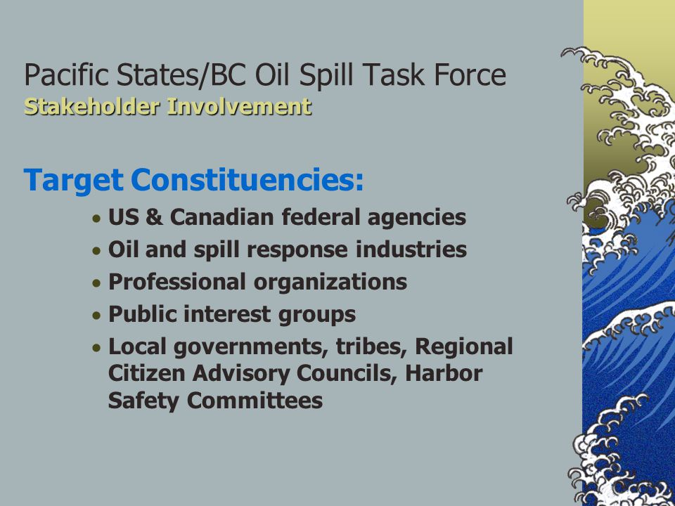 Stakeholder Involvement Pacific States/BC Oil Spill Task Force Stakeholder Involvement Target Constituencies:  US & Canadian federal agencies  Oil and spill response industries  Professional organizations  Public interest groups  Local governments, tribes, Regional Citizen Advisory Councils, Harbor Safety Committees