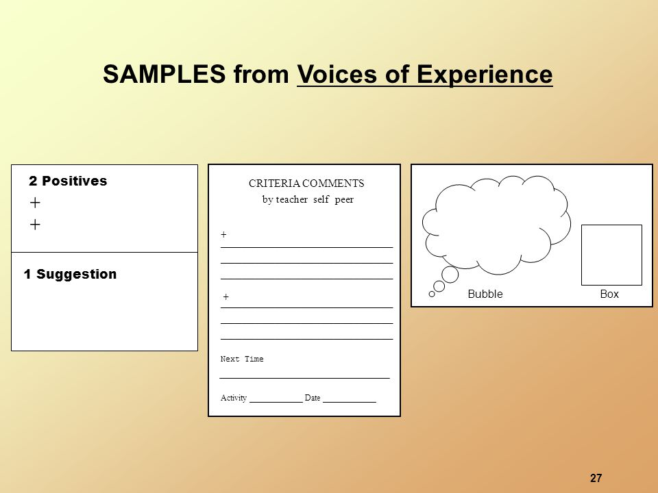 27 SAMPLES from Voices of Experience 2 Positives + + 1 Suggestion BubbleBox CRITERIA COMMENTS by teacher self peer __________________________ __________________________ __________________________ Activity _____________ Date _____________ Next Time __________________________ __________________________ __________________________ + +