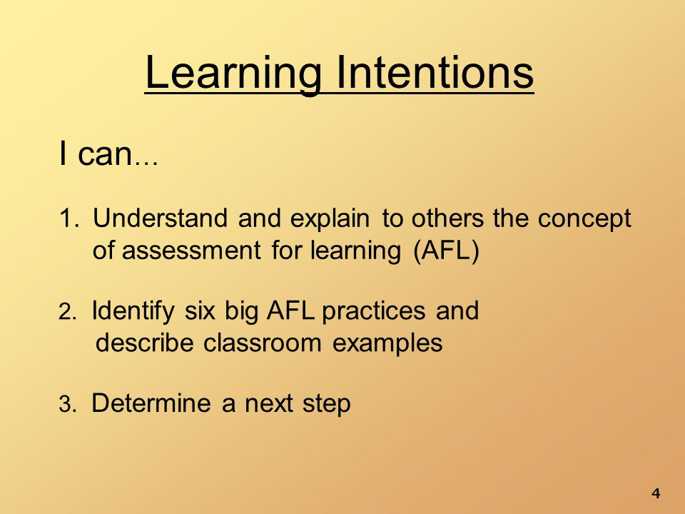 4 Learning Intentions 1.Understand and explain to others the concept of assessment for learning (AFL) 2.