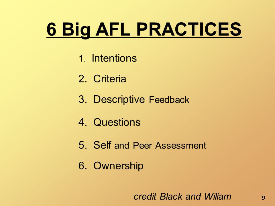9 6 Big AFL PRACTICES 1. Intentions 2. Criteria 6.