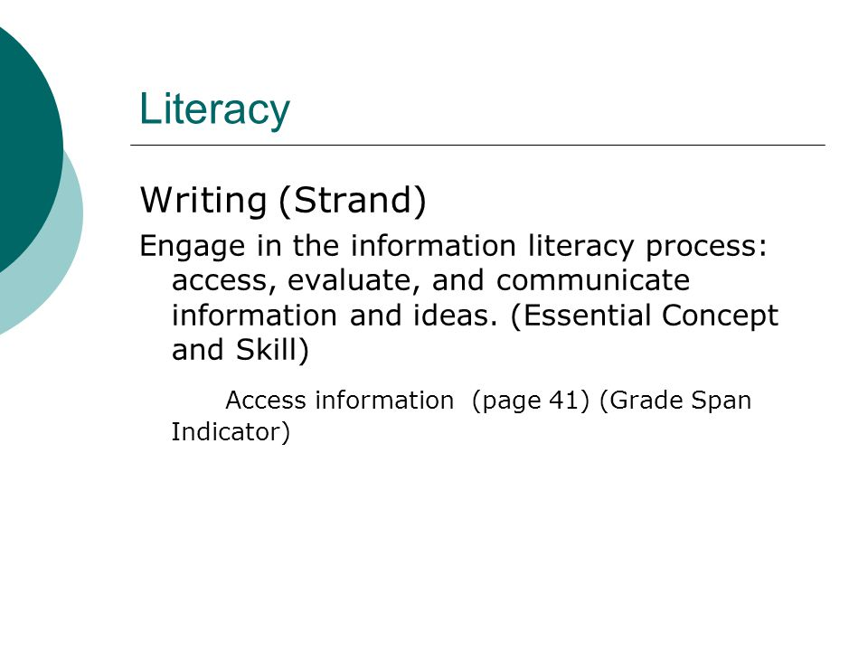 Literacy Writing (Strand) Engage in the information literacy process: access, evaluate, and communicate information and ideas.