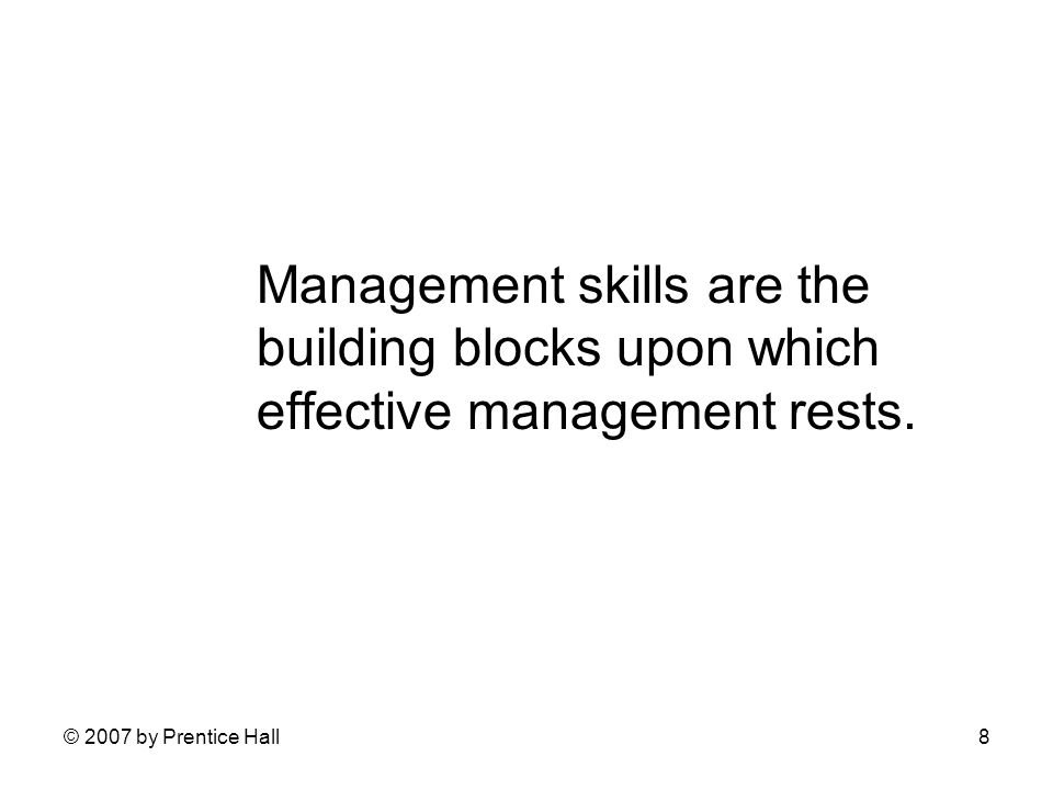 © 2007 by Prentice Hall8 Management skills are the building blocks upon which effective management rests.
