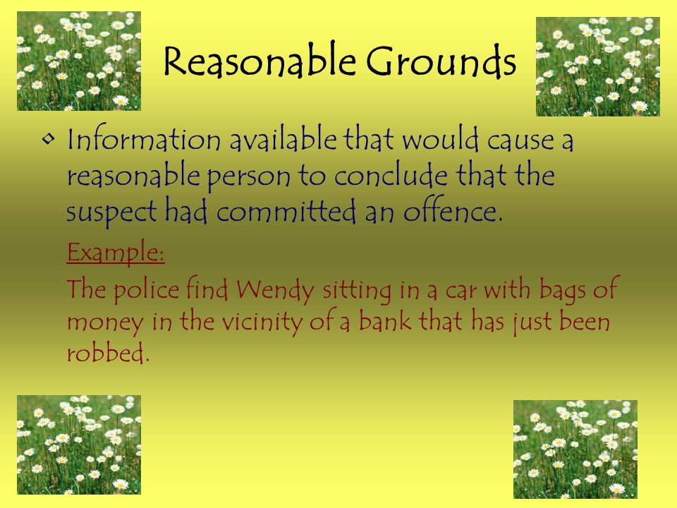 Reasonable Grounds Information available that would cause a reasonable person to conclude that the suspect had committed an offence. Example: The poli
