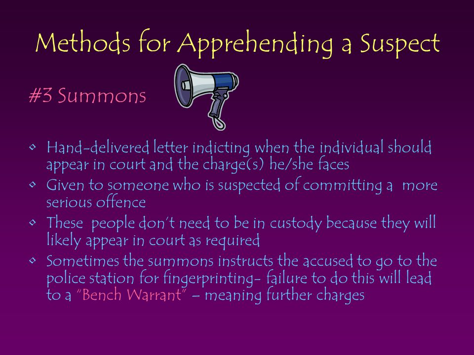 Methods for Apprehending a Suspect #3 Summons Hand-delivered letter indicting when the individual should appear in court and the charge(s) he/she face