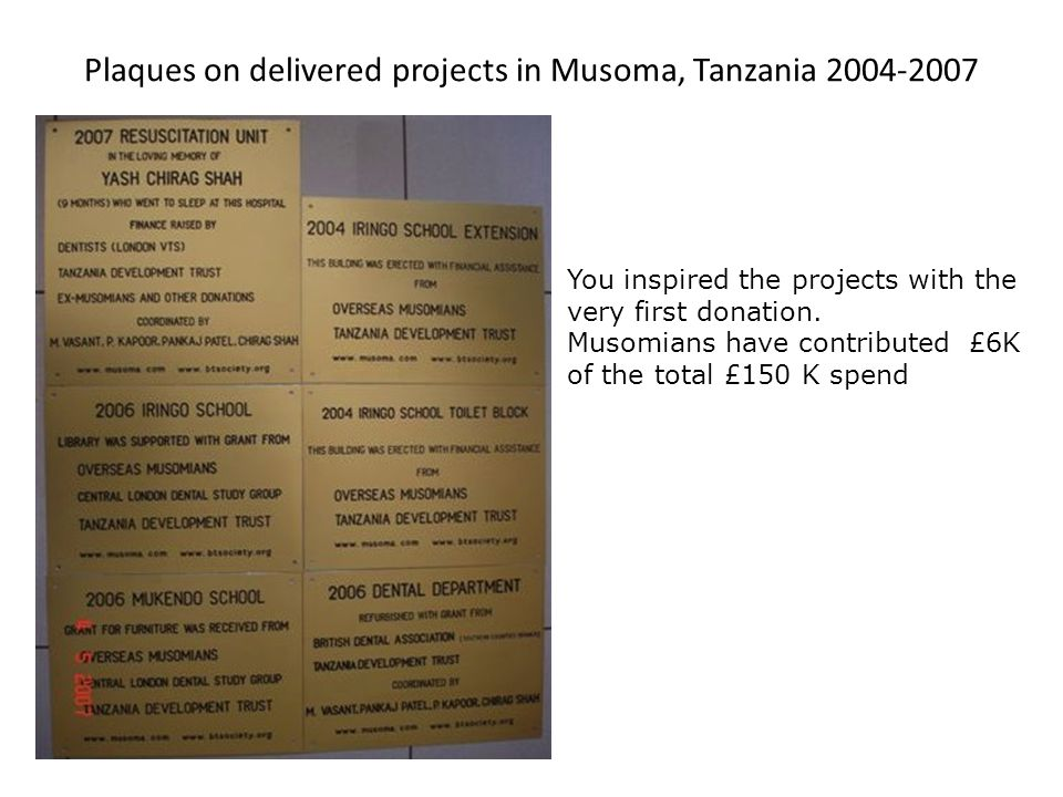 Plaques on delivered projects in Musoma, Tanzania 2004-2007 You inspired the projects with the very first donation.