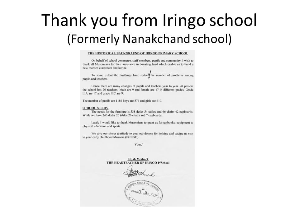 Thank you from Iringo school (Formerly Nanakchand school)