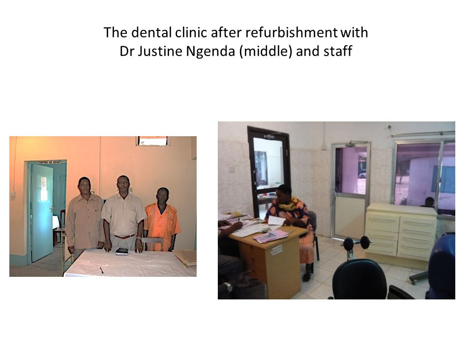 The dental clinic after refurbishment with Dr Justine Ngenda (middle) and staff