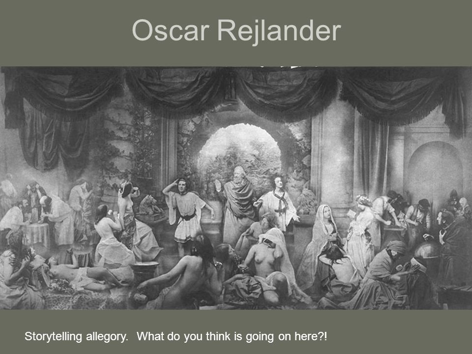 Oscar Rejlander Storytelling allegory. What do you think is going on here?!