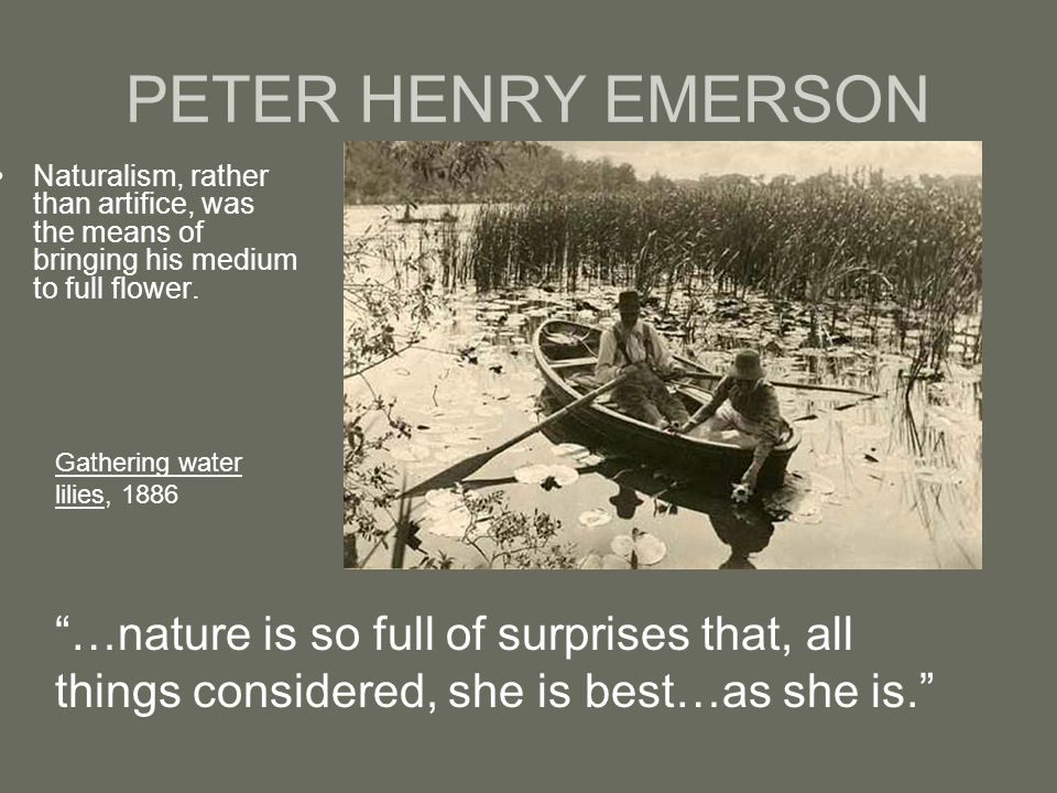 """PETER HENRY EMERSON Naturalism, rather than artifice, was the means of bringing his medium to full flower. """"…nature is so full of surprises that, all"""