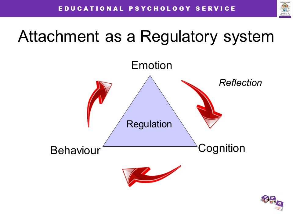 E D U C A T I O N A L P S Y C H O L O G Y S E R V I C E Regulation Emotion Behaviour Cognition Reflection Attachment as a Regulatory system