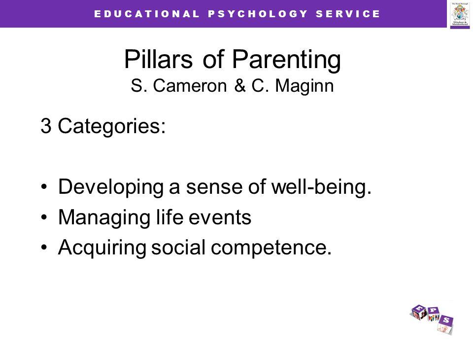 E D U C A T I O N A L P S Y C H O L O G Y S E R V I C E Pillars of Parenting S. Cameron & C. Maginn 3 Categories: Developing a sense of well-being. Ma