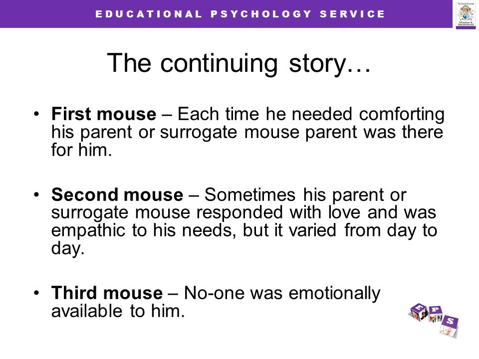 E D U C A T I O N A L P S Y C H O L O G Y S E R V I C E The continuing story… First mouse – Each time he needed comforting his parent or surrogate mouse parent was there for him.