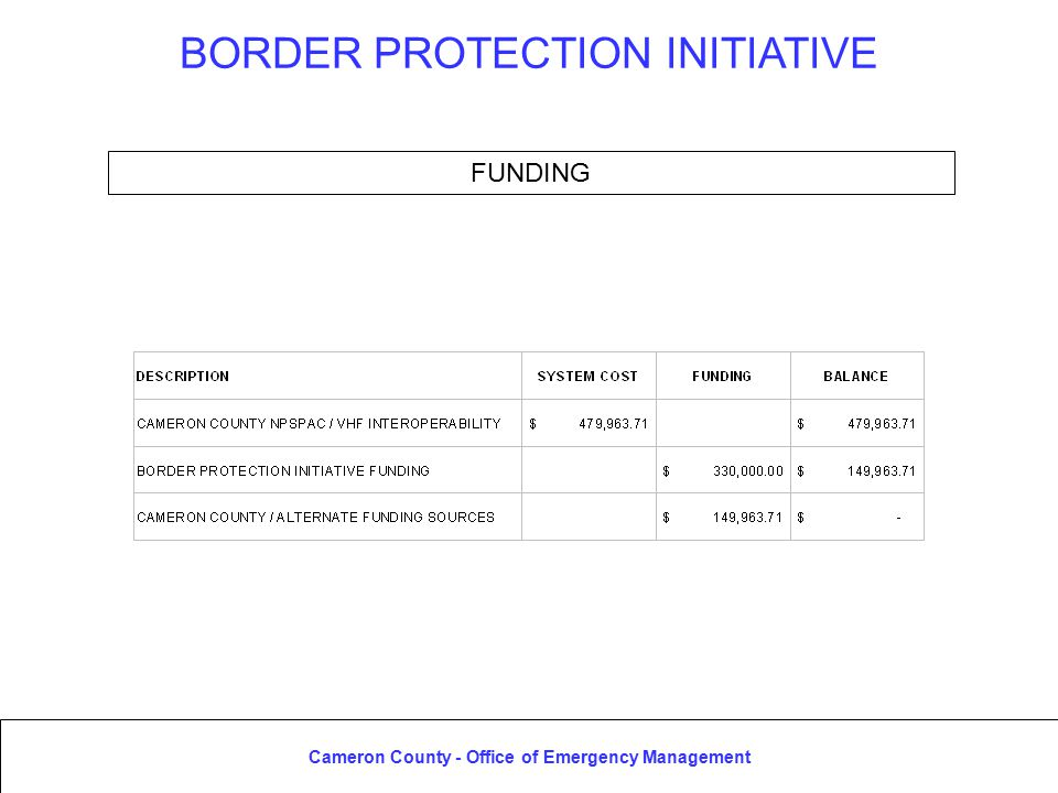 Cameron County - Office of Emergency Management BORDER PROTECTION INITIATIVE FUNDING