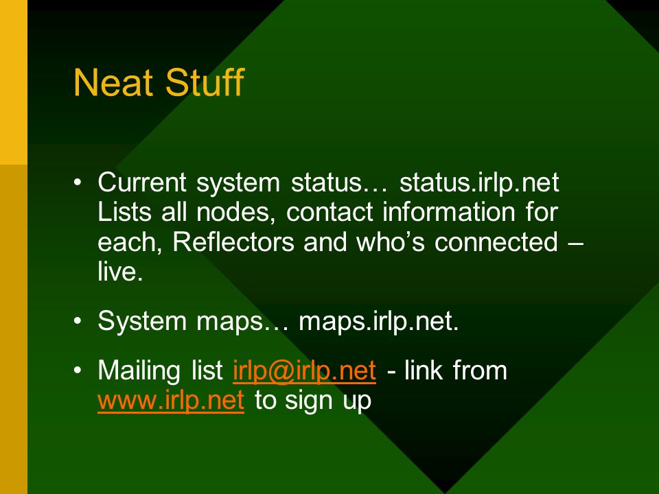 Neat Stuff Current system status… status.irlp.net Lists all nodes, contact information for each, Reflectors and who's connected – live.