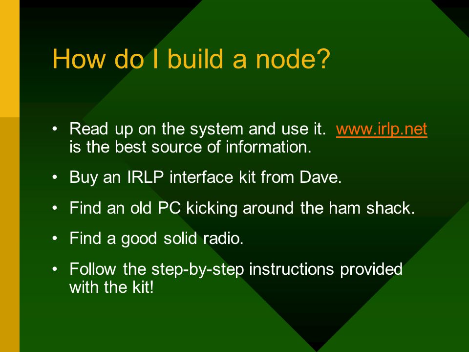 How do I build a node. Read up on the system and use it.